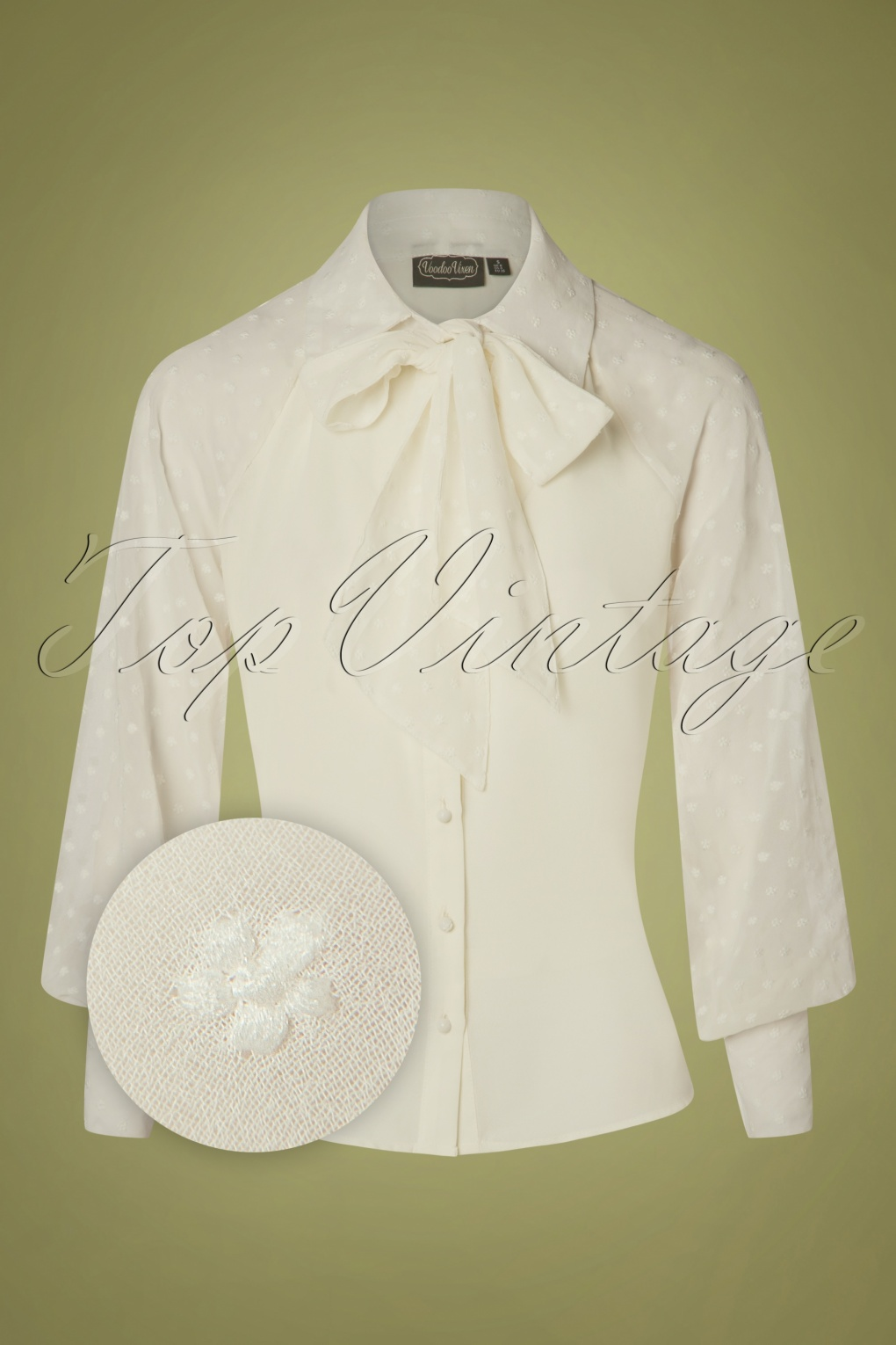 1940s Blouses and Tops 40s Winona Neck Tie Chiffon Blouse in Cream £39.96 AT vintagedancer.com