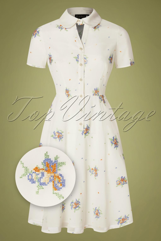 Vintage Shirtwaist Dress History 50s Wonder White Chiffon Swing Dress in White £24.95 AT vintagedancer.com