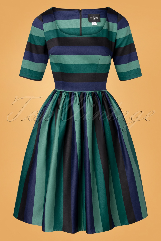 1950s Dresses, 50s Dresses | 1950s Style Dresses 50s Amber-Lea Twilight Stripe Swing Dress in Green £49.21 AT vintagedancer.com