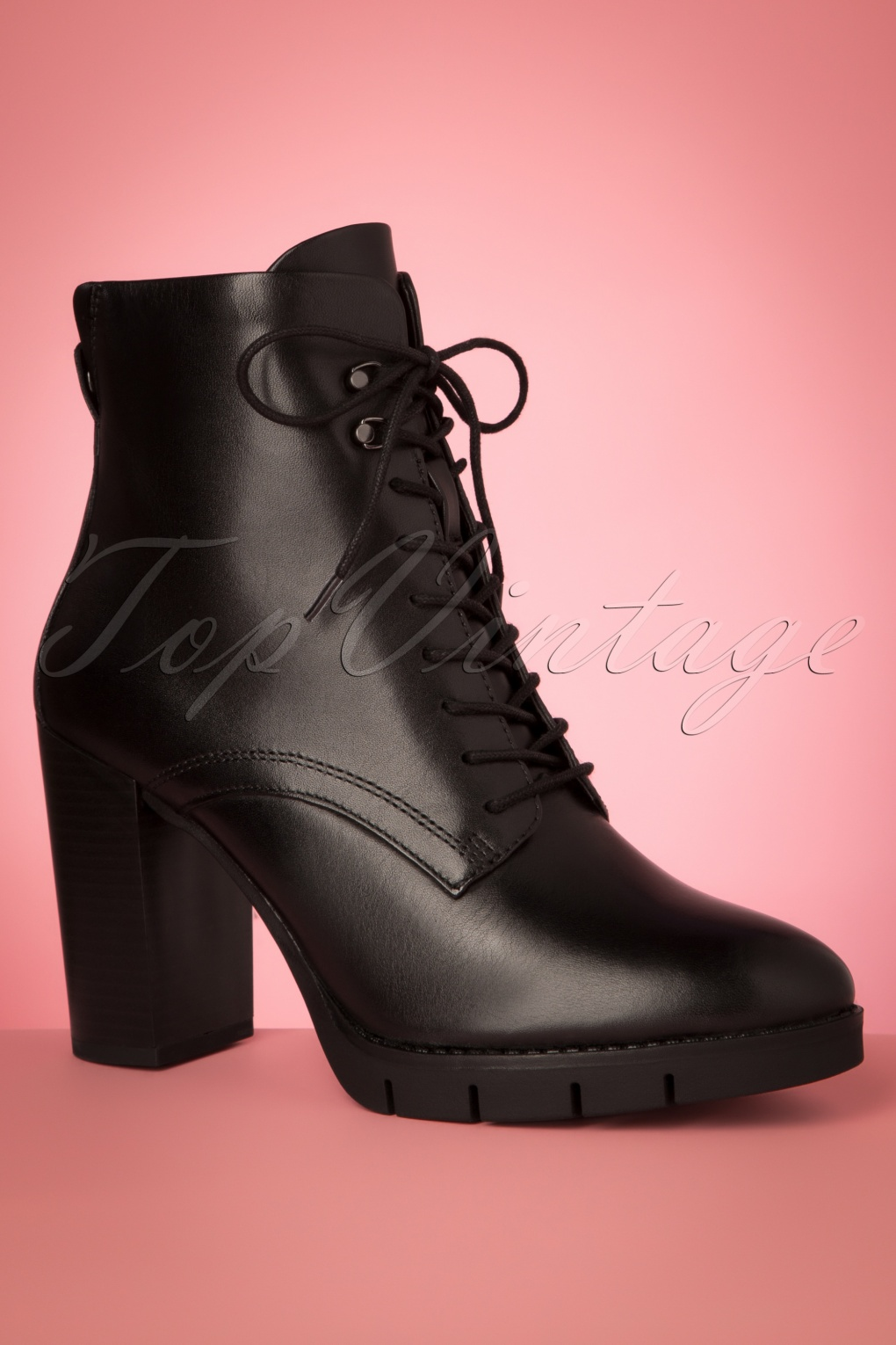 Pin Up Shoes- Heels, Pumps & Flats 50s Lorena Lace Up Leather Booties in Black £81.11 AT vintagedancer.com