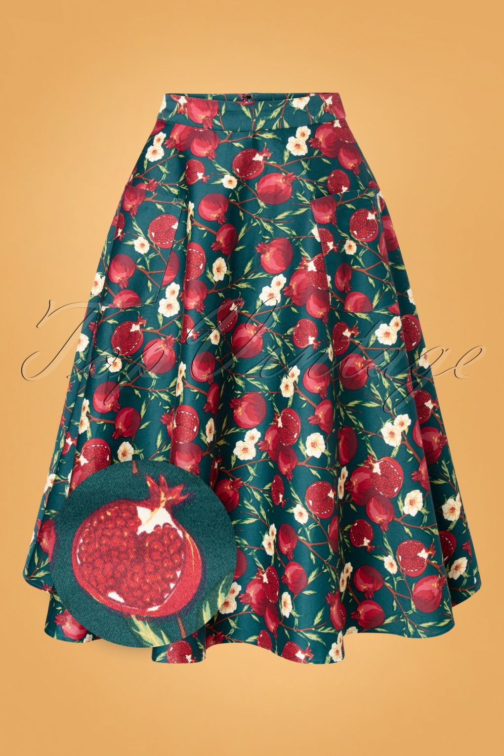 Retro Skirts | Vintage, Pencil, Circle, & Plus Sizes 50s Silvia Pomegranate Swing Skirt in Teal £50.49 AT vintagedancer.com