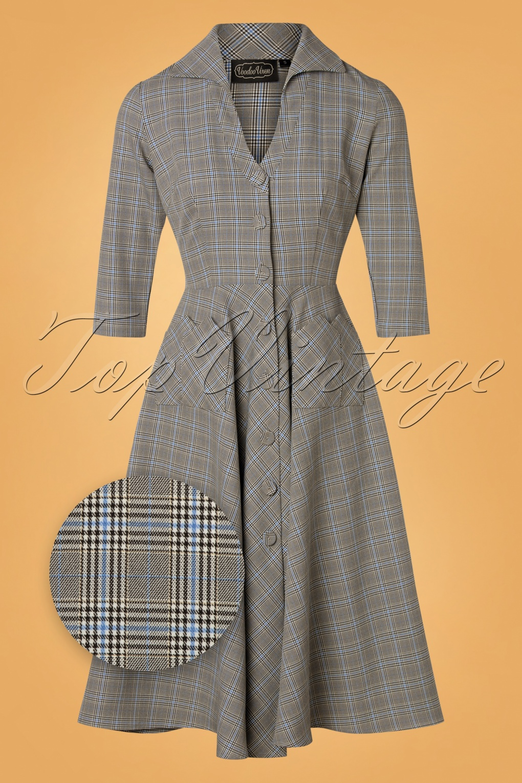 1950s Dresses, 50s Dresses | 1950s Style Dresses 50s Barbara Check Swing Dress in Grey £67.79 AT vintagedancer.com