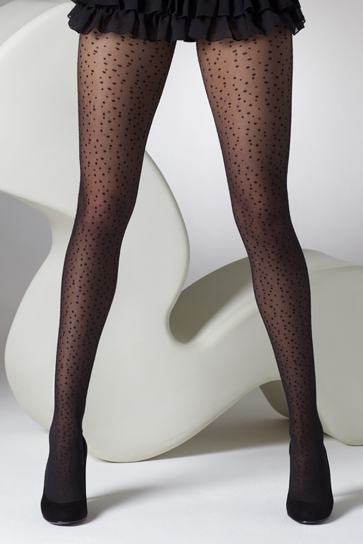 Seamed Stockings, Nylons, Tights 50s Splash Of Spot Tights in Black £9.98 AT vintagedancer.com