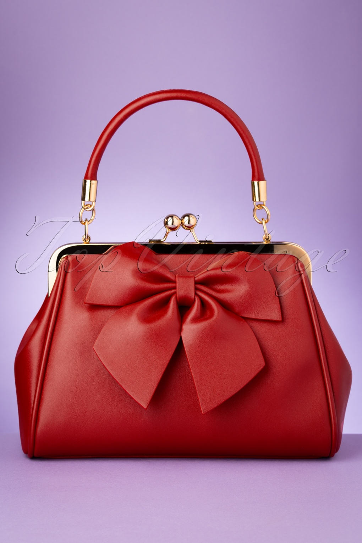 Vintage Handbags, Purses, Bags *New* 50s Lockwood Bow Handbag in Red £39.96 AT vintagedancer.com