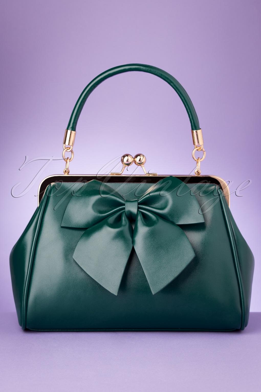 1950s Handbags, Purses, and Evening Bag Styles 50s Lockwood Bow Handbag in Green £40.22 AT vintagedancer.com