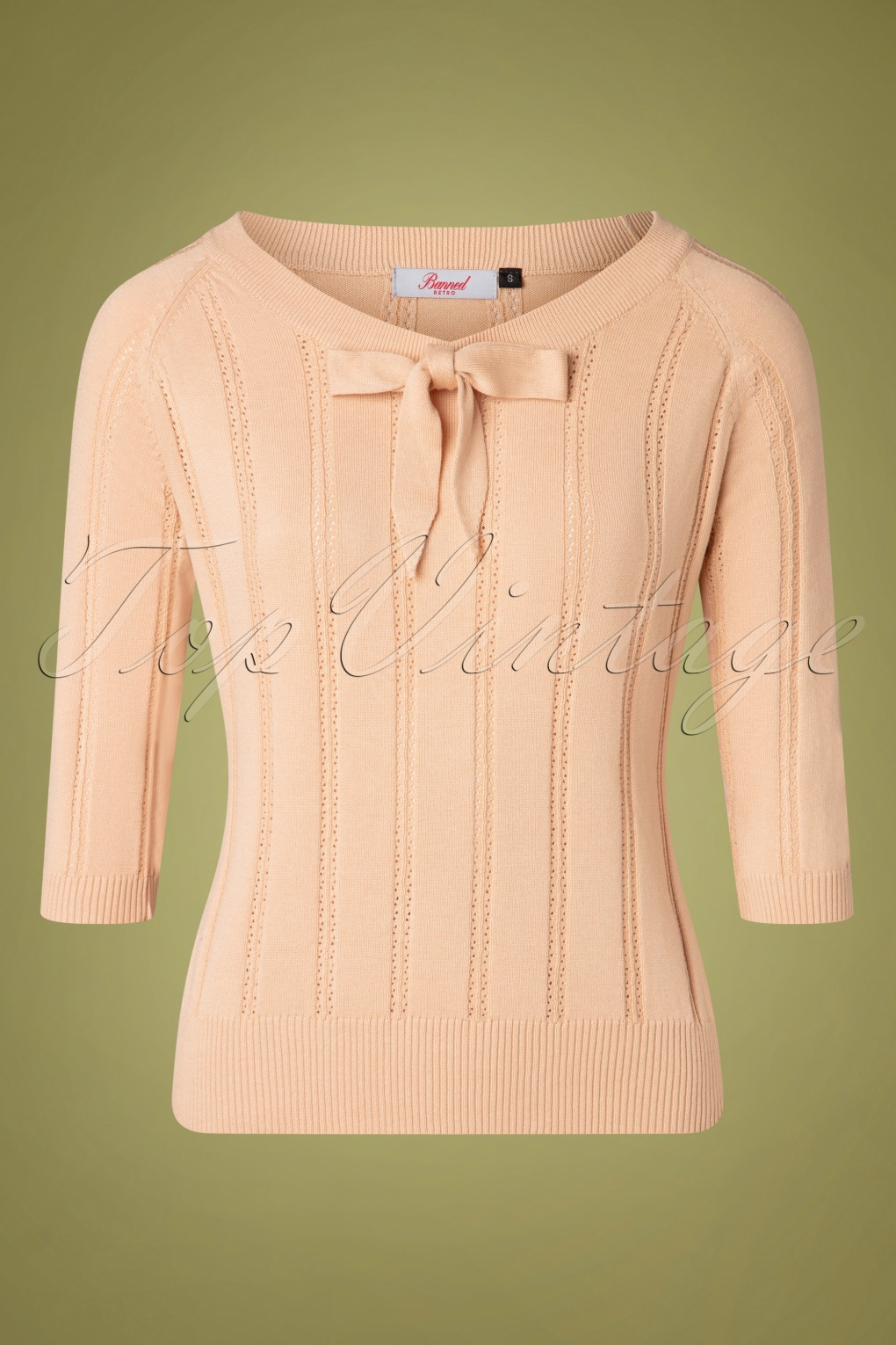 1950s Sweaters, 50s Cardigans, 50s Jumpers 50s Belle Bow Pointelle Top in Beige £34.36 AT vintagedancer.com