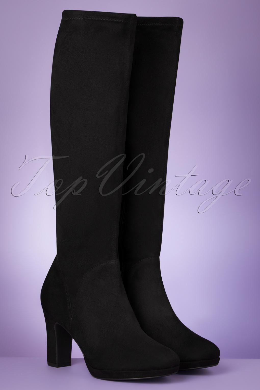1960s Style Dresses, Clothing, Shoes UK 60s Priscilla High Suedine Boots in Black £71.53 AT vintagedancer.com