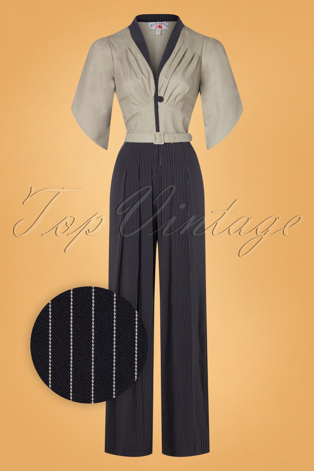 Vintage Overalls 1910s -1950s History & Shop Overalls 50s Ariadne Striped Jumpsuit in Navy and Greige £111.75 AT vintagedancer.com