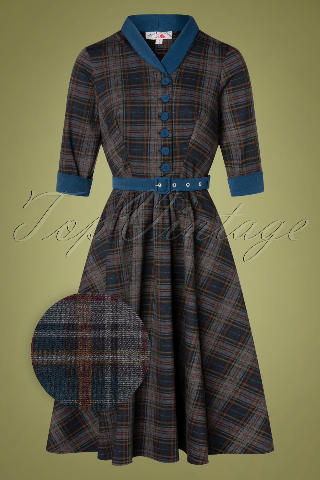 1940s Day Dress Styles, House Dresses TopVintage exclusive  40s Lily Teagan Tartan Swing Dress in Midnight Blue £113.33 AT vintagedancer.com