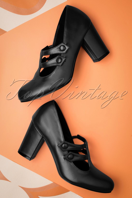 Edwardian Shoes & Boots | Titanic Shoes 60s Isabella Pumps in Black £51.85 AT vintagedancer.com