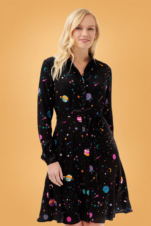 60s Dresses | 1960s Dresses Mod, Mini, Hippie 60s Zadie Cyber Candy Shirt Dress in Black £77.58 AT vintagedancer.com