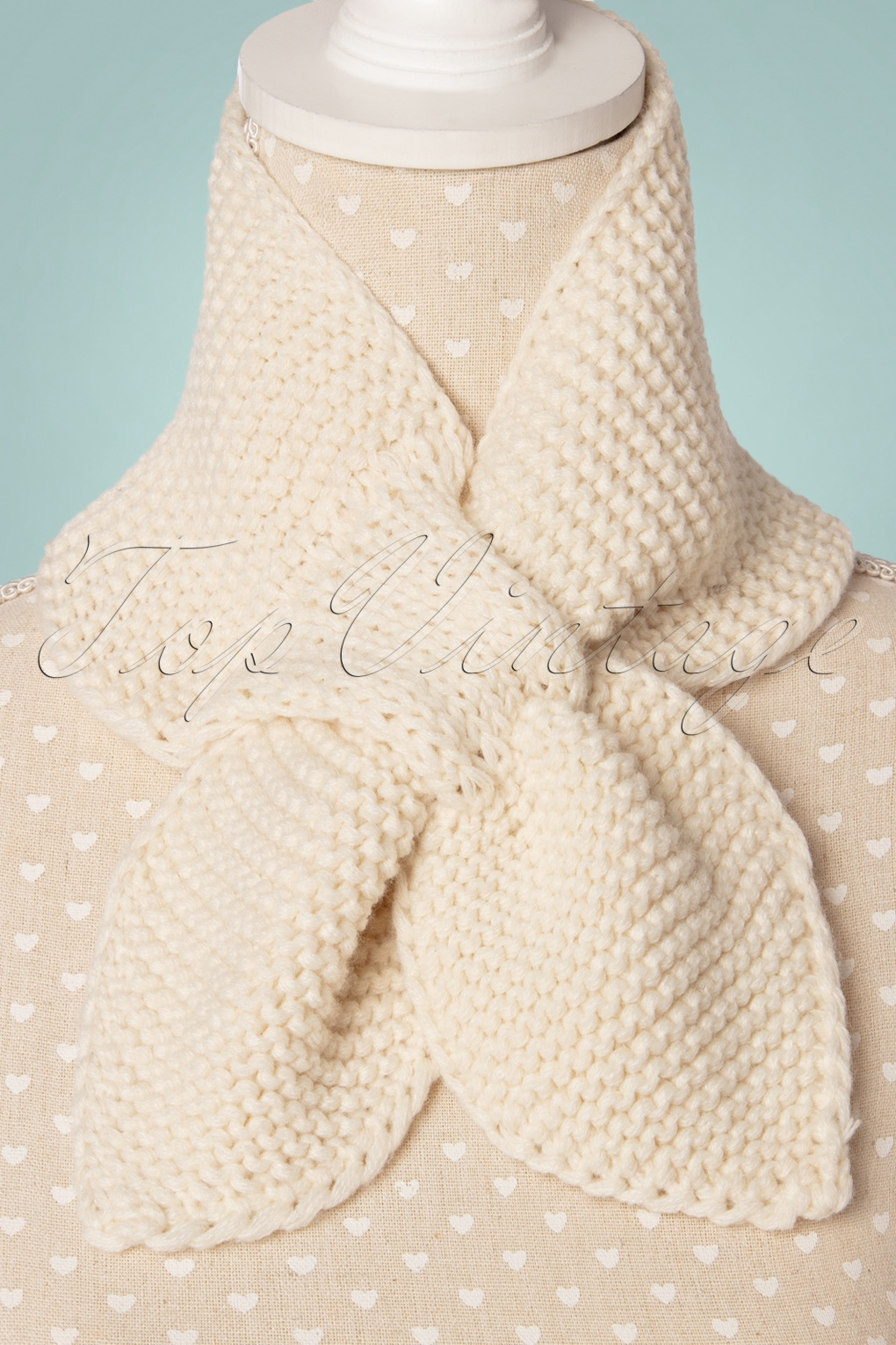 Vintage Sweaters, Retro Sweaters & Cardigan 50s Fru Fru Knitted Scarf in Cream £12.48 AT vintagedancer.com