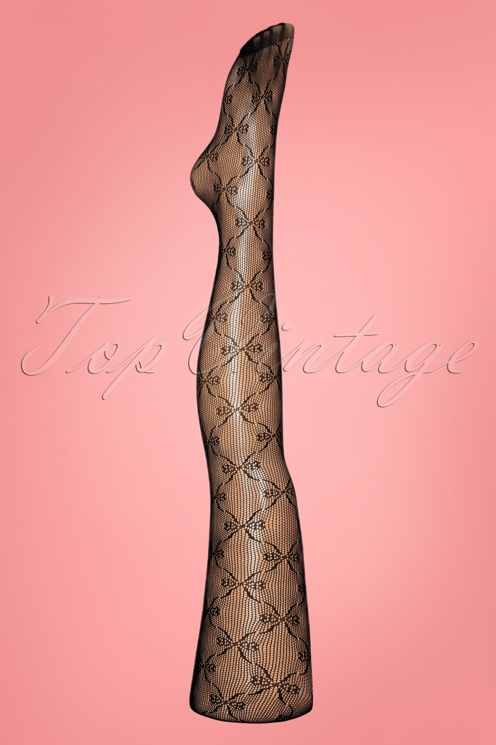 1960s Tights, Stockings, Panty Hose, Knee High Socks 60s Diamond Whirl Mesh Tights in Black £7.24 AT vintagedancer.com