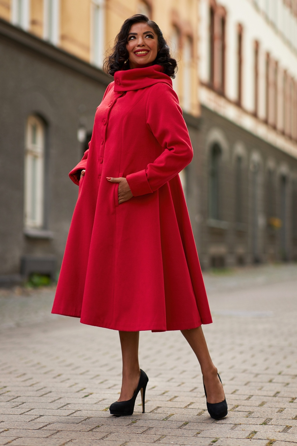1950s Jackets, Coats, Bolero | Swing, Pin Up, Rockabilly 60s Midge A-Line Winter Coat in Red £165.57 AT vintagedancer.com