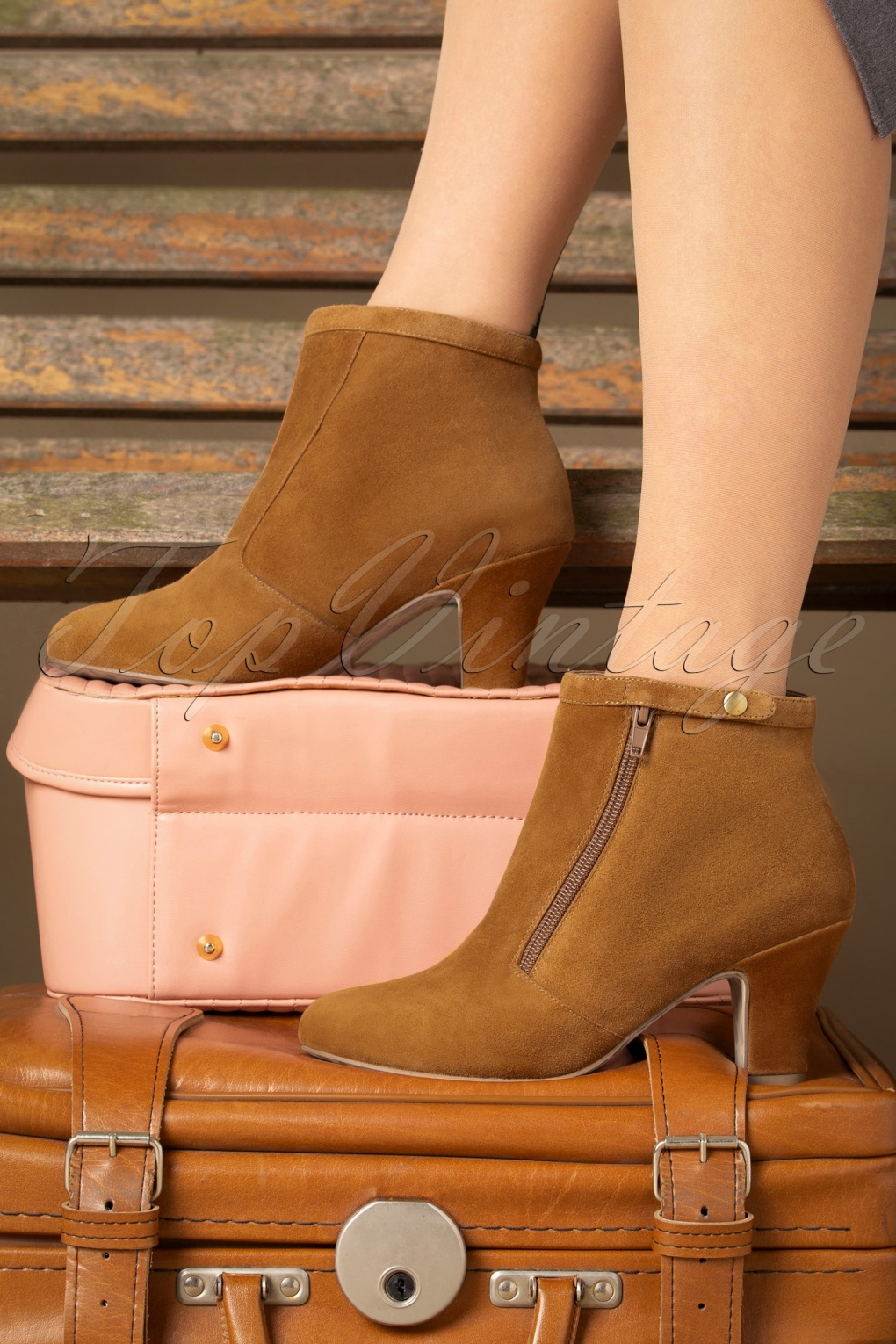 Vintage Boots- Buy Winter Retro Boots 40s Ava Return To Sender Booties in Cognac £120.74 AT vintagedancer.com