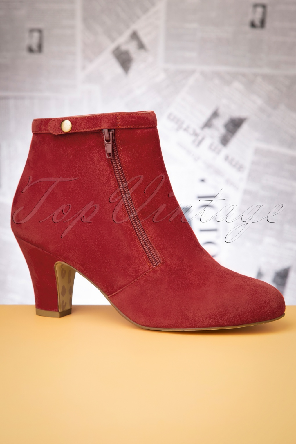 1940s Style Shoes, 40s Shoes 40s Ava Return To Sender Booties in Warm Red £120.74 AT vintagedancer.com
