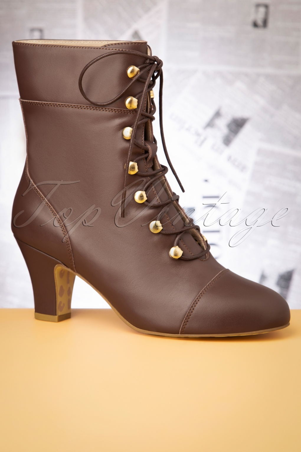 1940s Style Shoes, 40s Shoes 40s Ava On My Way Lace Up Booties in Brown £125.21 AT vintagedancer.com