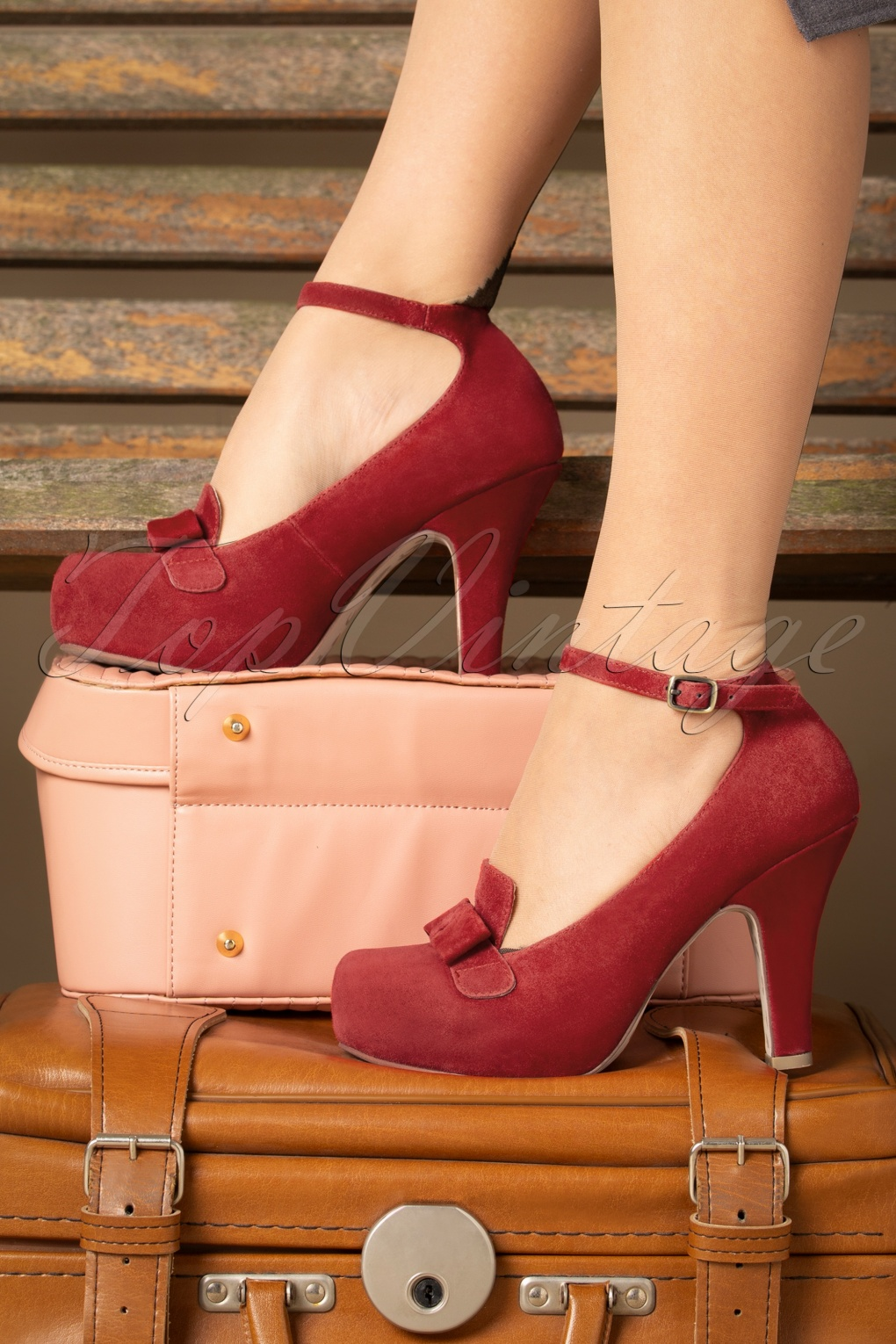 Vintage Shoes, Vintage Style Shoes 40s Angie On Adventure Pumps in Warm Red £107.32 AT vintagedancer.com