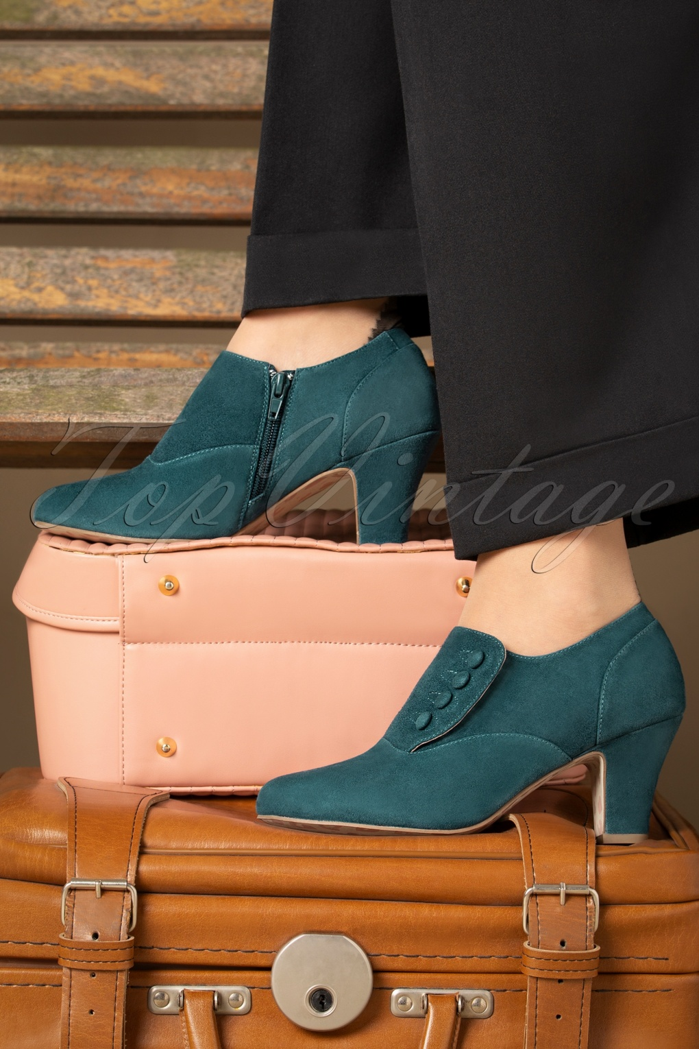 Vintage Heels, Retro Heels, Pumps, Shoes 40s Ava Right On Time Shoe Booties in Teal £107.32 AT vintagedancer.com