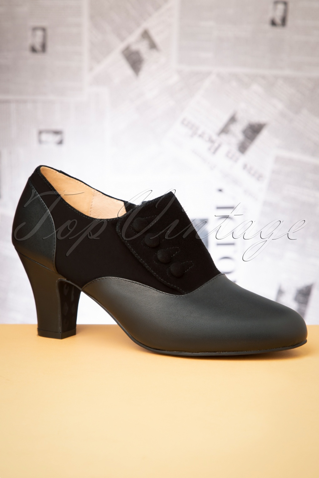 Vintage Heels, Retro Heels, Pumps, Shoes 40s Ava Right On Time Shoe Booties in Black £107.32 AT vintagedancer.com