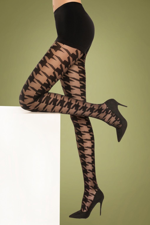 1960s Tights, Stockings, Panty Hose, Knee High Socks 60s Pied de Poule Tights in Black £11.59 AT vintagedancer.com