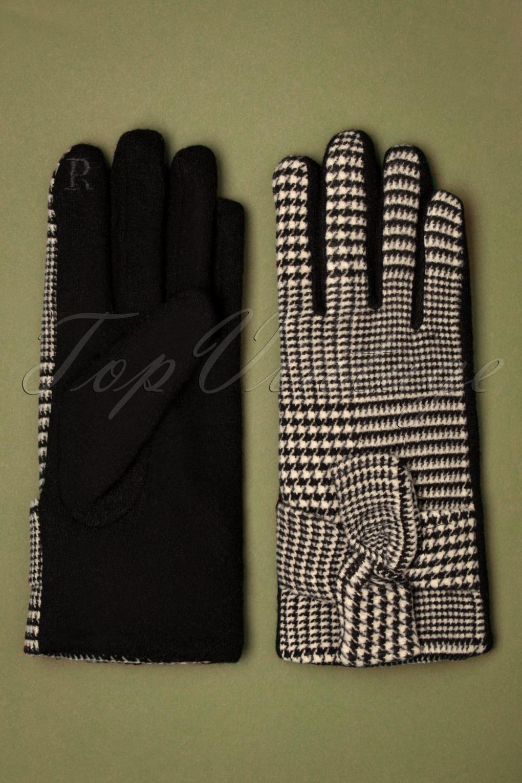 Vintage Style Gloves- Long, Wrist, Evening, Day, Leather, Lace 50s Vivien Houndstooth Wool Gloves in Black £23.14 AT vintagedancer.com
