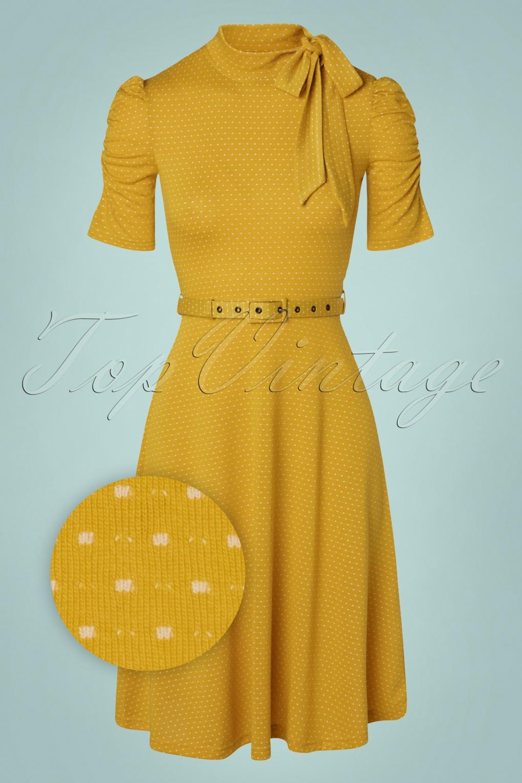 1950s Dresses, 50s Dresses | 1950s Style Dresses 50s Posie Polkadot Swing Dress in Mustard £48.50 AT vintagedancer.com