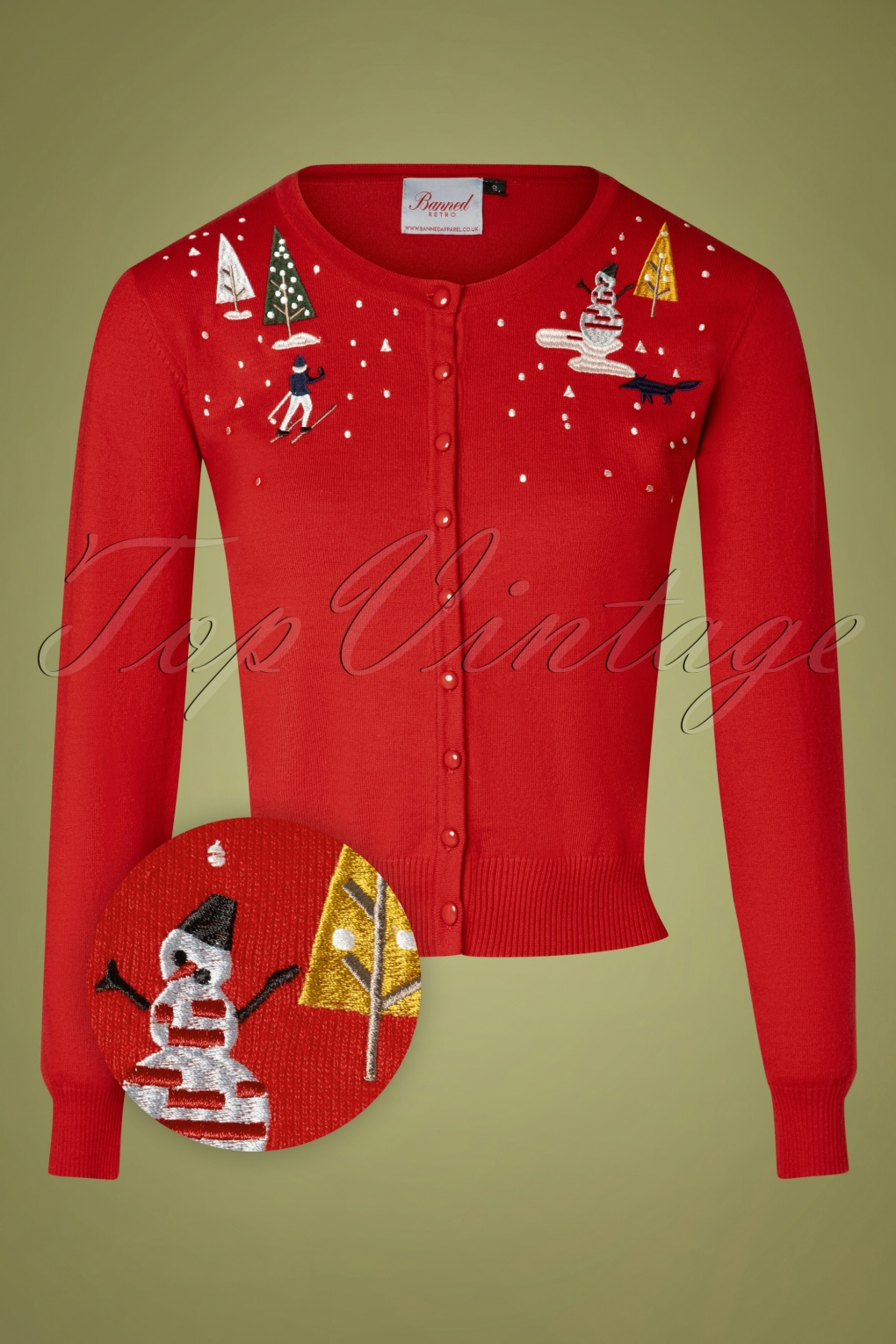 Vintage Sweaters, Retro Sweaters & Cardigan 50s Christmas Town Cardigan in Red £39.96 AT vintagedancer.com