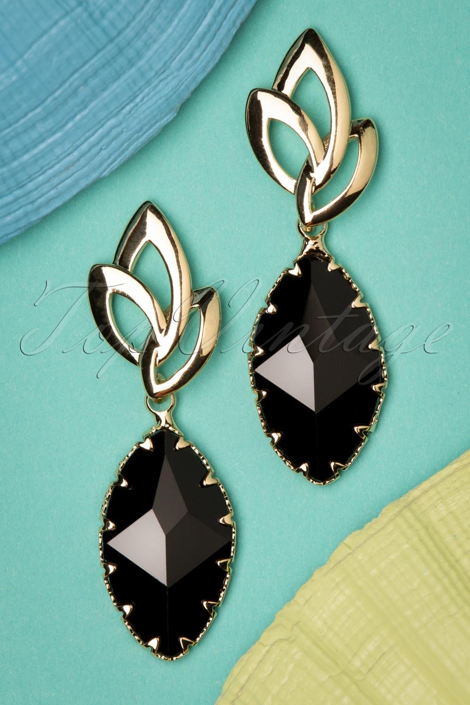 50s Jewelry: Earrings, Necklace, Brooch, Bracelet 50s Feline Earrings in Black and Gold £9.14 AT vintagedancer.com