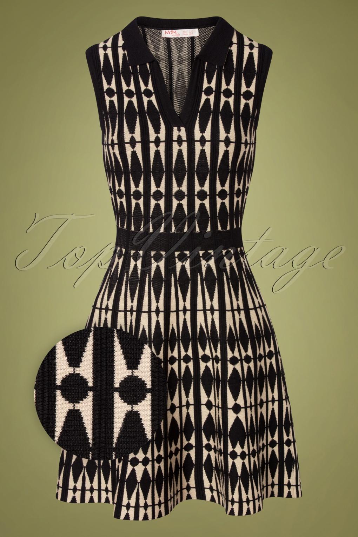 500 Vintage Style Dresses for Sale | Vintage Inspired Dresses 60s Rowan Harlequin Dress in Black and Cream £92.36 AT vintagedancer.com