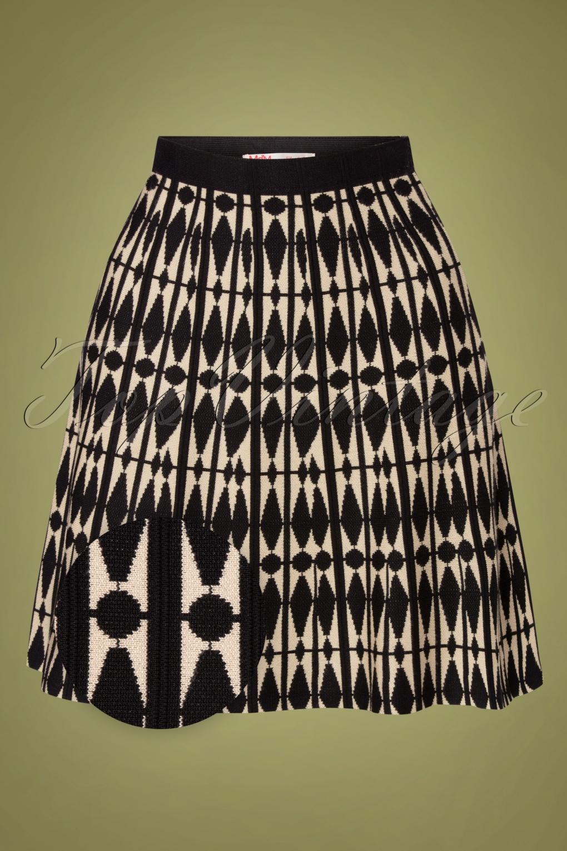 60s Skirts   70s Hippie Skirts, Jumper Dresses 60s Isaya Harlequin Skirt in Black en Cream £46.16 AT vintagedancer.com