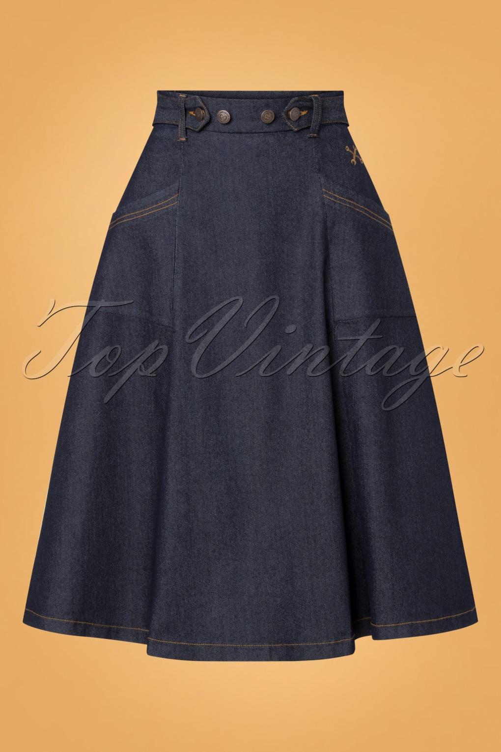 1950s Swing Skirt, Poodle Skirt, Pencil Skirts 50s Workwear Denim Skirt in Dark Blue £54.75 AT vintagedancer.com