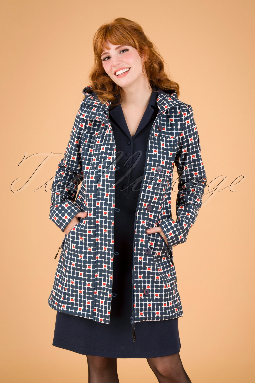 Vintage Coats & Jackets | Retro Coats and Jackets 60s Wild Weather Long Anorak in Apple Turnover Navy £137.57 AT vintagedancer.com