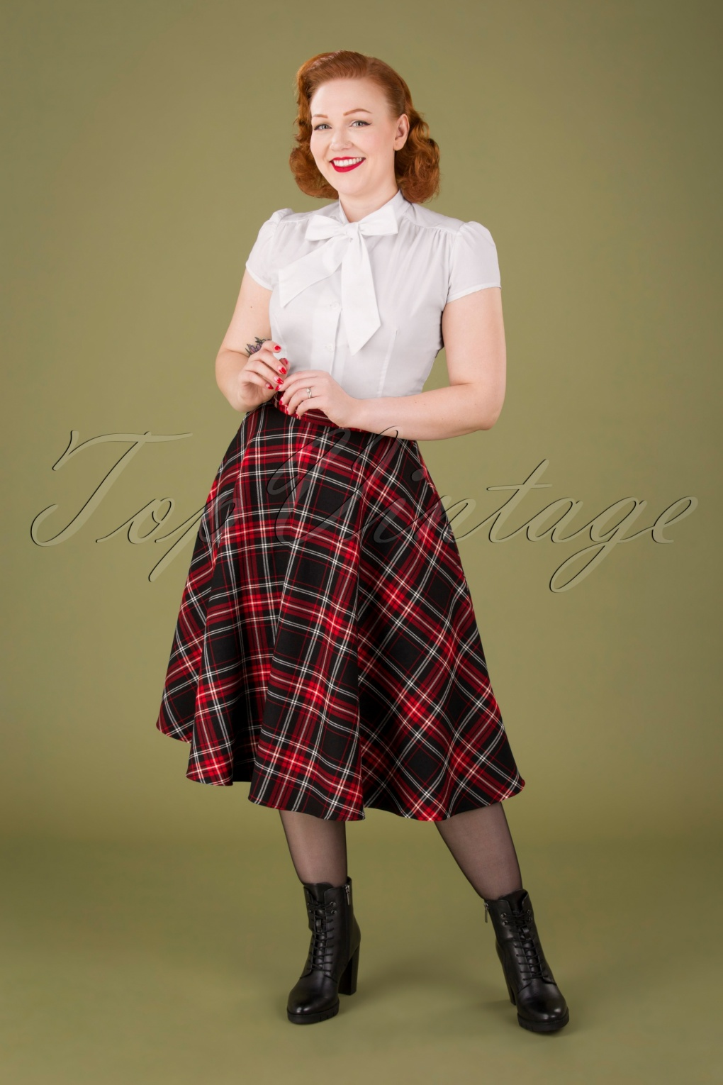 1940s Style Skirts- Vintage High Waisted Skirts 50s Islay Tartan Swing Skirt in Black and Red £48.81 AT vintagedancer.com