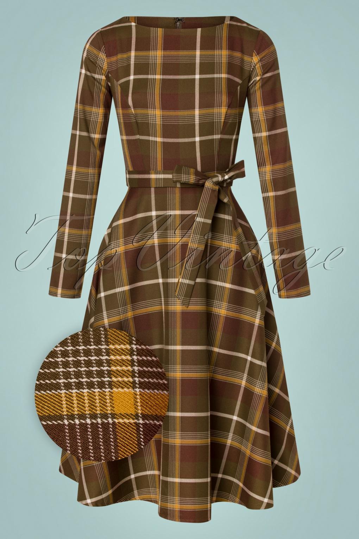 1940s Dresses | 40s Dress, Swing Dress, Tea Dresses 40s Arwen Mosshill Check Swing Dress in Brown £66.62 AT vintagedancer.com