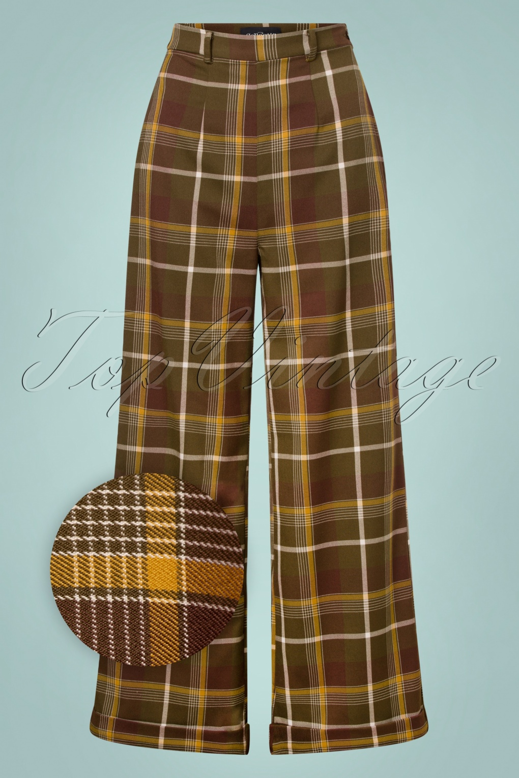 1940s Dresses and Clothing UK | 40s Shoes UK 40s Baylee Mosshill Check Trousers in Brown £58.91 AT vintagedancer.com