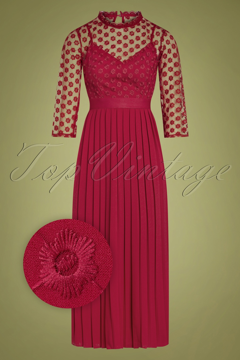 Vintage Evening Dresses and Formal Evening Gowns 60s Martyna Midaxi Dress in Raspberry Red £83.12 AT vintagedancer.com