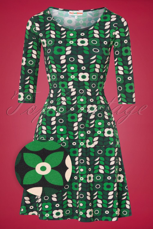 500 Vintage Style Dresses for Sale | Vintage Inspired Dresses 60s Ester Roman Dress in Navy and Green £91.44 AT vintagedancer.com
