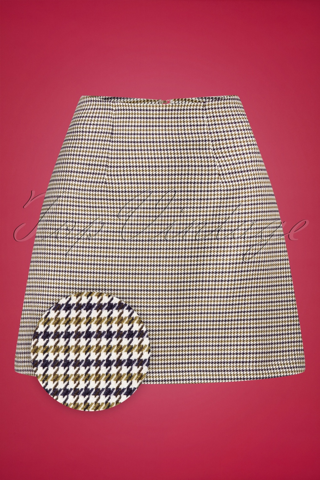 1960s Style Dresses, Clothing, Shoes UK 60s Check Mate Skirt in Green and Navy Houndstooth £36.92 AT vintagedancer.com