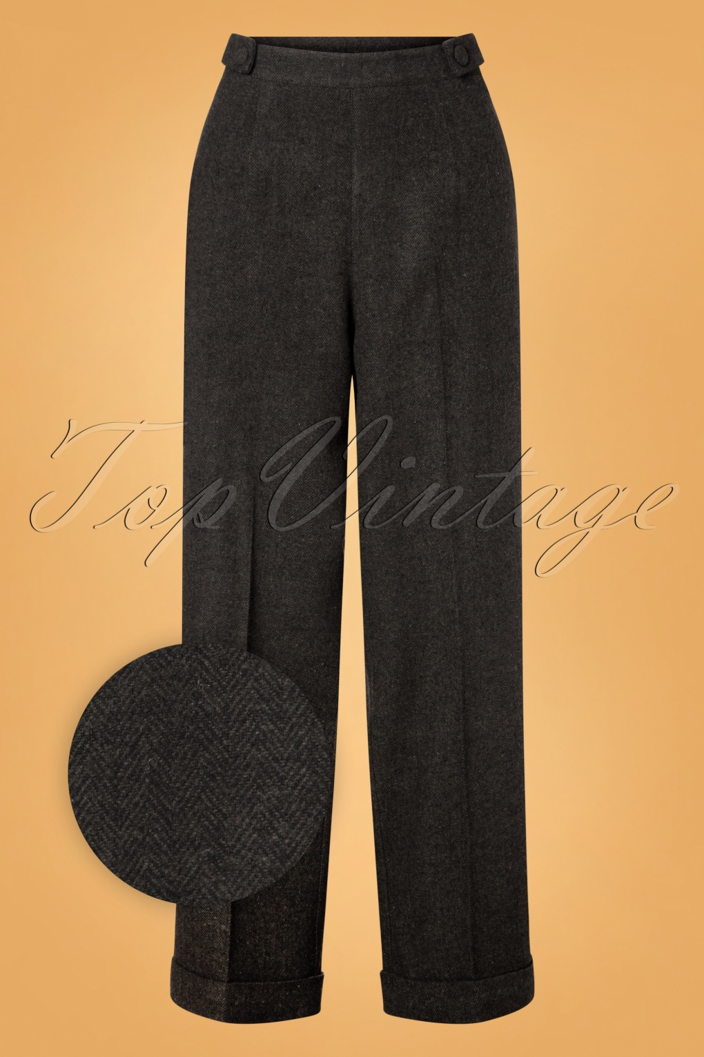Vintage Wide Leg Pants & Beach Pajamas History 40s Button Side Trousers in Grey £37.84 AT vintagedancer.com