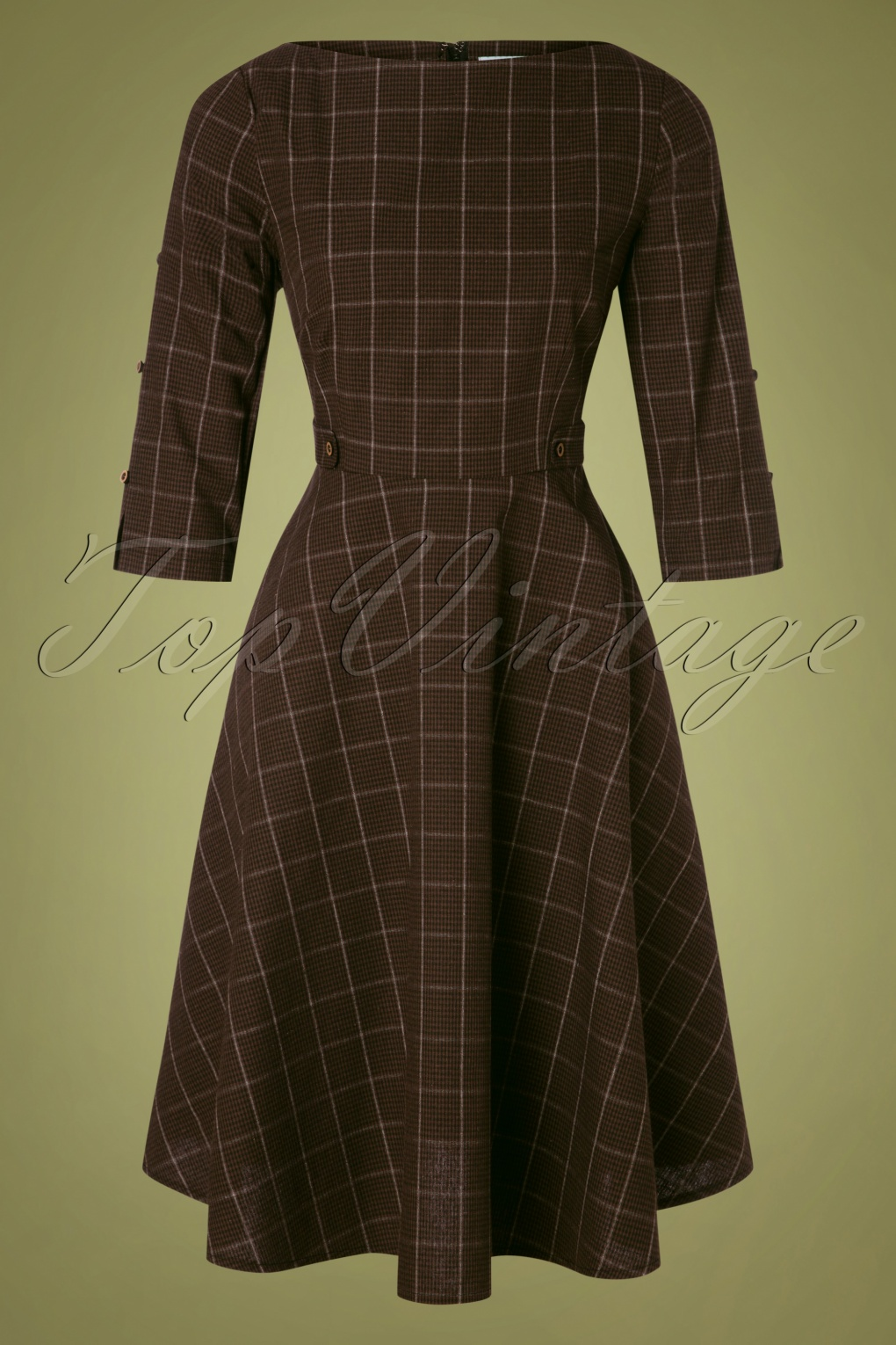 1940s Dresses and Clothing UK | 40s Shoes UK 40s Classic Utility Swing Dress in Brown £49.08 AT vintagedancer.com