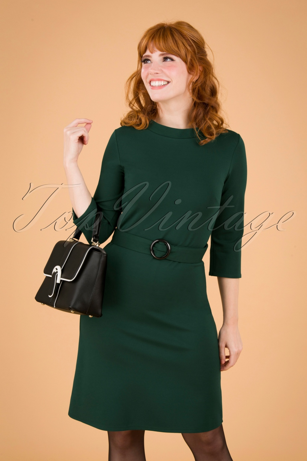 Vintage Style Dresses | Vintage Inspired Dresses 60s Agneta A-line Dress in Green £96.84 AT vintagedancer.com