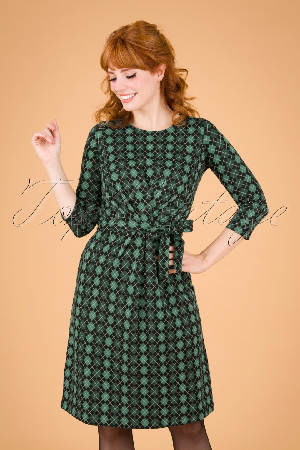 60s Dresses | 1960s Dresses Mod, Mini, Hippie 60s Hailey Aberdeen Dress in Fir Green £91.27 AT vintagedancer.com