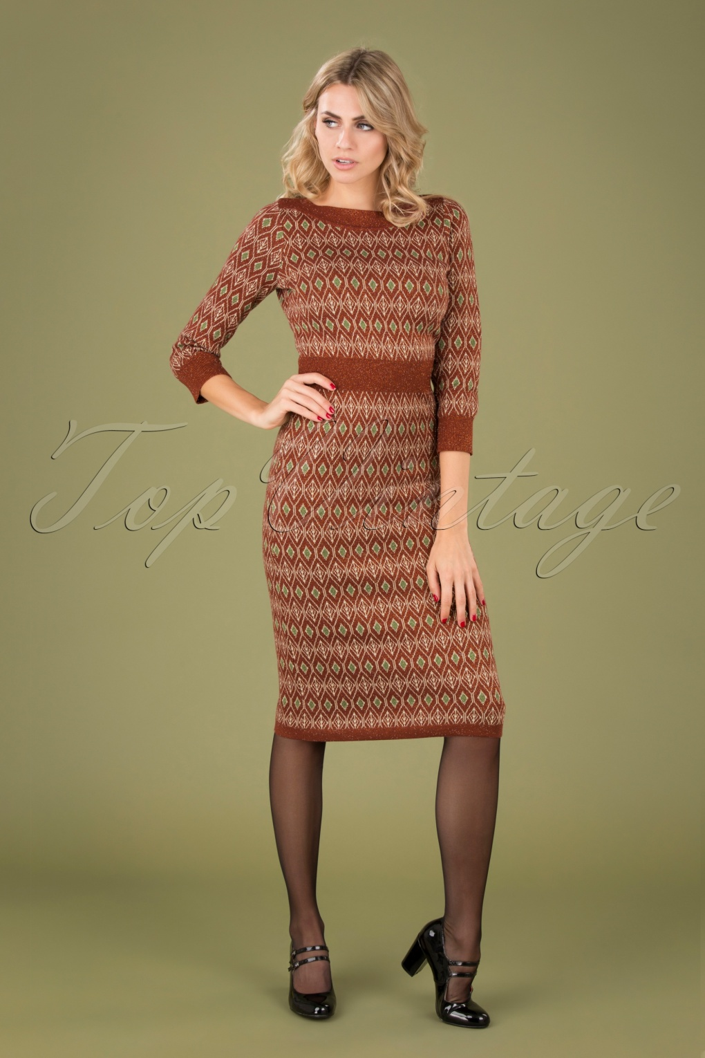 Shop Queen's Gambit Outfits – 60s Clothes 60s Audrey Midi Taboo Dress in Henna Red £117.25 AT vintagedancer.com