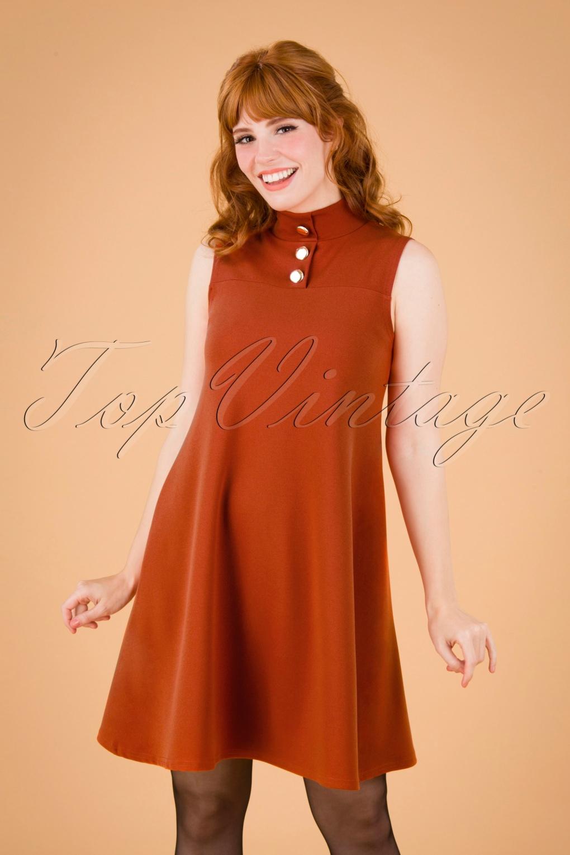 60s Dresses | 1960s Dresses Mod, Mini, Hippie 60s Jean A-Line Dress in Cinnamon £46.05 AT vintagedancer.com
