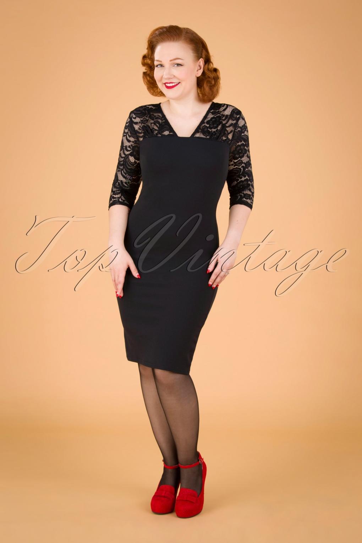 50s Dresses UK | 1950s Dresses, Shoes & Clothing Shops 50s Ryleigh Lace Pencil Dress in Black £53.55 AT vintagedancer.com