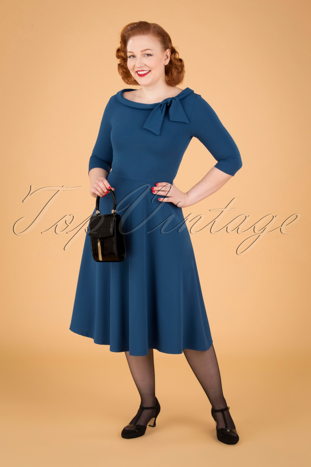 1960s Style Dresses, Clothing, Shoes UK 50s Beverly Swing Dress in Teal £60.02 AT vintagedancer.com