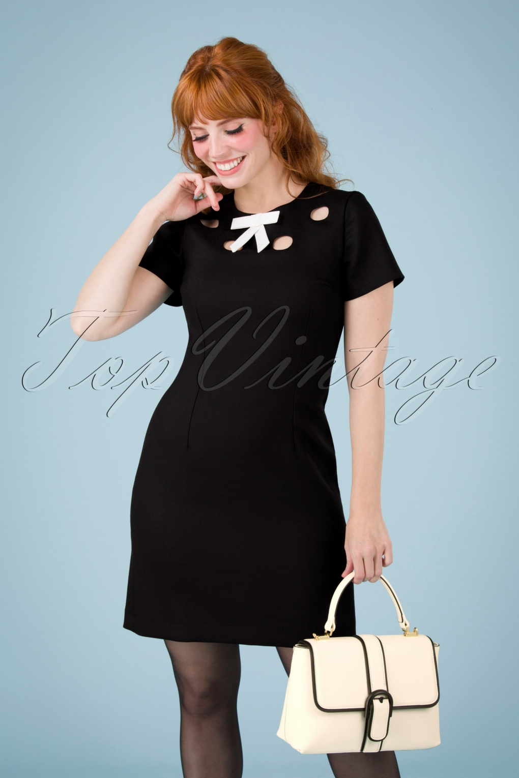 60s Dresses | 1960s Dresses Mod, Mini, Hippie 60s Cindy Cut Out Bow Dress in Black and Ivory £126.13 AT vintagedancer.com