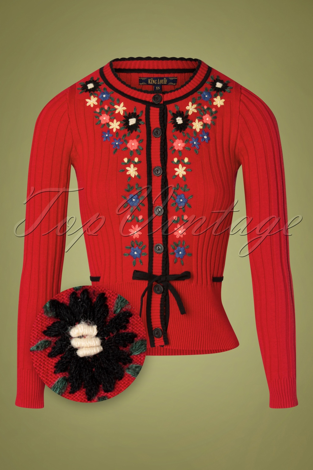 Cottagecore Clothing, Soft Aesthetic 60s Margot Fleur Cardi in Chili Red £90.88 AT vintagedancer.com