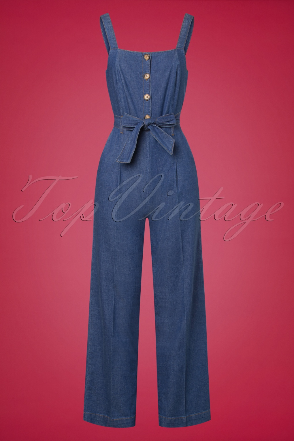 70s Jumpsuit | Disco Jumpsuits, Sequin Rompers 70s Ines Chambray Jumpsuit in River Blue £110.05 AT vintagedancer.com